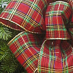 Tartan Plaid Bow on the Maine Woods Wreath