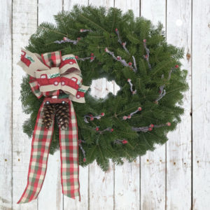 Maine Vintage Holiday Wreath with 1950's Red Truck